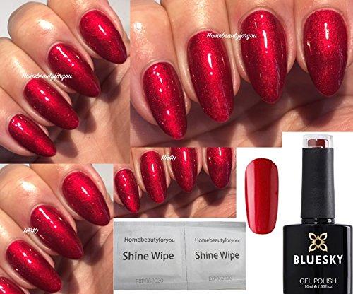 Bluesky 80607 Tartan Punk Valentine Red Contradictions Vernis à ongles gel, séchage lampe UV, LED, 2 lingettes Homebeautyforyou Shine Wipe