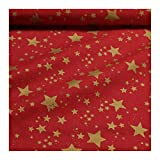 Stoff Weihnachtsstoff Baumwolle Stern rot gold Sternchen
