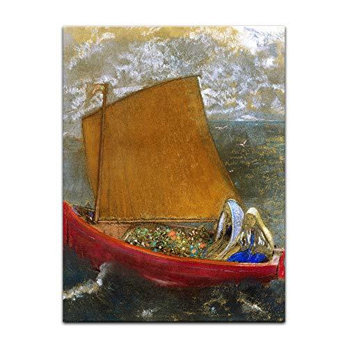 Kunstdruck Poster - Odilon Redon Gelbes Segel 40x60cm ca. A2 - Alte Meister Bild ohne Rahmen