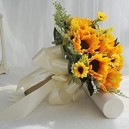 WentingZWT – Ramo de novia artificial, romántico, hecho a mano con cuerda de lino y girasol brillante, cinta de satén para decoración del hogar de la iglesia