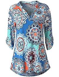 a28fdc9c9601 Overdose Casual Damen Langarm Floral Bedruckte Roll-up Tops Casual Button  Layered Blusen Hemd T Shirt Damen Sommer Herbst Langarmshirt…