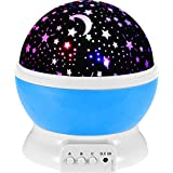 LZHOO Lampe d'étoile LED, Lampe d'éclairage étoile Projecteur de Rotation 360 degrés Lampe de Chevet projecteur pour Les Enfants BÉBÉ Chambre, Bleu