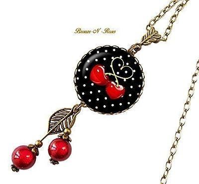 Sautoir collier cerises cabochon verre bronze rouge noir