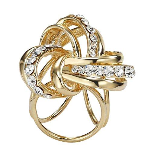 Contever® Elegante Donne Clips e Fibbia anello di Strass Sciarpa Chiffon Foulard di Seta Buckle (Oro)
