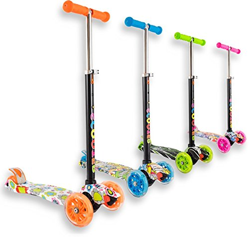 Staro - monopattino a 3 ruote con potenti luci a led, regolabile in altezza, per bambini da 2 a 10 anni, facile da usare, ideale per principianti, orange with drawings, 4-10 years old