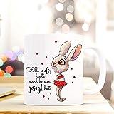 ilka parey wandtattoo-welt® Tasse mit Spruch Becher Kaffeetasse Kaffeebecher Bunny Hase mit Punkten & Spruch ...du machst das toll ts475