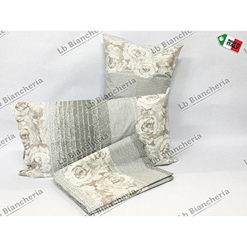 Completo lenzuola romantica shabby chic beige-tortora - prezioso cotone made in italy trama fitta - 2 piazze. letto matrimoniale