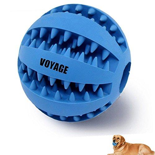 Hundespielzeug Ball von Voyage aus Naturkautschuk   Spielzeug für Hunde   Robuster Natur-Gummi Hundeball für Leckerli   Langlebiger Hundespielball   Auch für Welpen   Kauspielzeug   Spielzeug für Große & Kleine Hunde   Voll-Gummi Hunde-Frisbee, ø 7cm mit Dental-Zahnpflege-Funktion mit Noppen und Loch für Leckerli. (Hund Frisbee Bälle)