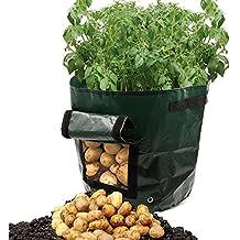 Dreamerd Juego de 2 bolsas de cultivo de 27 l/macetas en material transpirable/bolsa para plantar patatas de bolsas con ventana para cultivar hortalizas: patata, zanahoria y cebolla