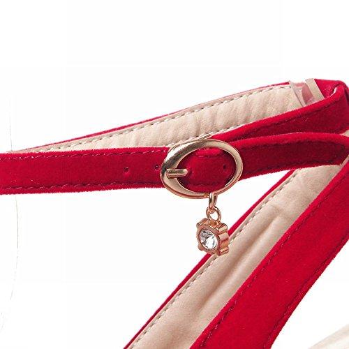 Mee Shoes Damen chunky heels ankle strap Schnalle Sandalen Rot(Nubuckleder)