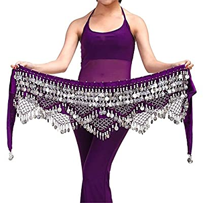 New Lady Costume Skirt Belt Hip Wrap Waist Chain Professional Stage Clothing Woman Dancing Wear 320 Silver Coins Belly Dance Scarf 7