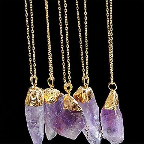 Chinget Natürliche Halsketten Unregelmäßige Form Amethyst Kristall Anhänger Quarz Halskette für Frauen Männer (Farbe 3)