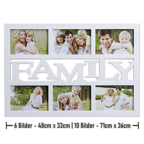 Bilderrahmen Collage Family Weiß - In 2 Größen - Fotocollage XL Für 6 Fotos á 10x15 cm - Familie Bildergalerie aus Kunststoff - 48x33 cm