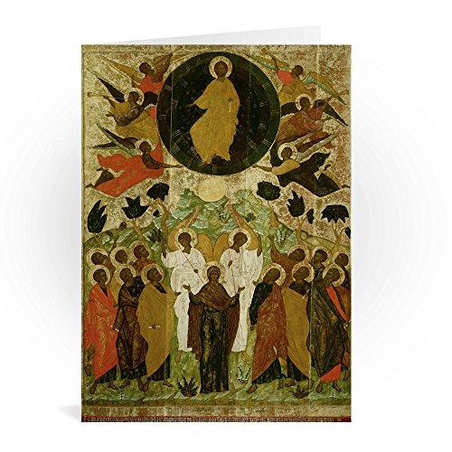 The Ascension of Our Lord, Russian icon from.. - Grußkarten (2er Packung) - 17,8x12,7 cm - Standardgröße - Packung mit 2 Karten - Art247 (Ascension-karten)