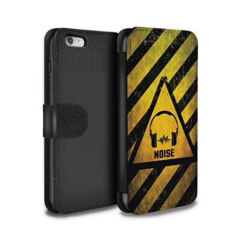 STUFF4 PU-Leder Hülle/Case/Tasche/Cover für Apple iPhone 6 / Feuer/Entzündliche Muster / Warnung Zeichen Kollektion Lärm/Musik