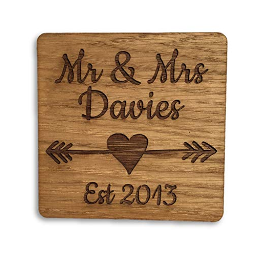 Set of 2 Wooden Mr & Mrs Coasters, Ideal Gift for Wedding or Anniversary