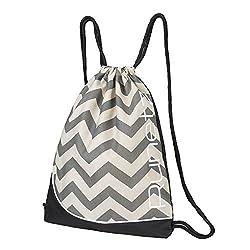Runetz - Chevron Gray Gym Sack Bag Drawstring Backpack Sport Bag For Men & Women Sackpack - Chevron Grey