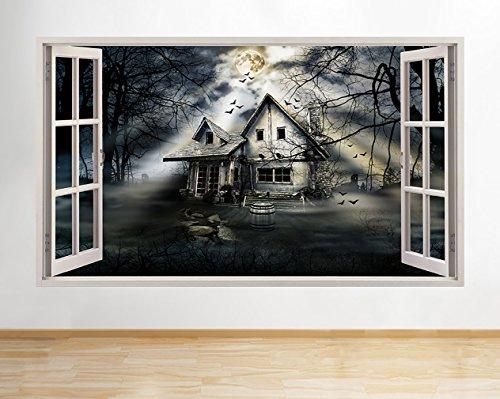 tekkdesigns A173Gejagt House Gothic Halloween Wand Aufkleber 3D Poster Art Aufkleber Vinyl Raum Kids Schlafzimmer Baby Kinderzimmer Cool Wohnzimmer Hall Jungen Mädchen (Riesige (100x 175cm))