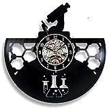 ZYQXI Orologio Parete Elementi del Disco del Vinile Orologio da Parete Design Moderno Laboratorio di Chimica Biologia Vintage Scienza Orologi da Parete Orologio da Regalo per Scienziato