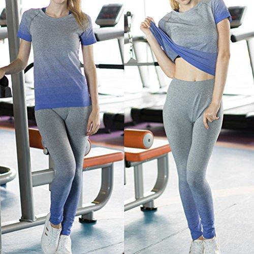 Nanxson(TM) Femmes Tee-shirt De Sport Collant À Manches Courtes Compression Base Layer Séchage Rapide Pour Yoga Jogging Course Gymnastique YDSW0010 Bleu