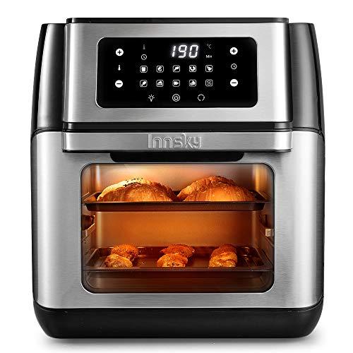 innsky friggitrice ad aria 10l, forno ad aria calda 10 in 1 con touch screen a led digitale, friggere senza olio da 1500w, essiccatore frutta, griglia, 6 accessori e ricettario - acciaio inox