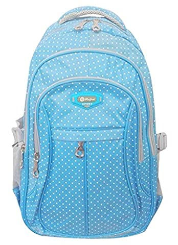SellerFun® Kid Child Girl Multipurpose Dot Backpack School Bag (Blue Large)