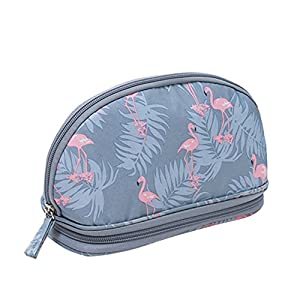 DWE Makeup Bags, Travel Cosmetic Bags Brush Pouch Toiletry Wash Bag Portable Travel Make up Case Pouch for Women Girls (Flamingo Gray)