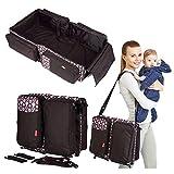 LYX Baby Bassinet Portable Travel Krippe Windeltasche Wechsel Station mit Matte Faltbare Bett Multifunktional Carry Cot Für 0-12 Monate,Brown