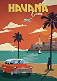 Générique Havana - Cuba - Voyage Vintage Photo Poster Imprimé Cité Pays Rétro Décoration Murale Chevrolet Ocean 001 (A5-A4-A3) - A3