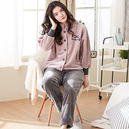 MH-RITA Neue Corashan Nachtwäsche weiblichen Winter Cashmere Flanell Home Kleidung verdickte Für äußeren Verschleiß, L (Cashmere-flanell-hose)
