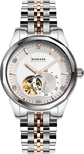 binkada Beste Günstigen Automatische Mechanische weißes Zifferblatt Herren-Armbanduhr # 808901–3