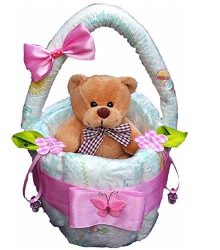 Windeltorte, Korb aus Windeln rosa, Geburt, Taufe, Geschenk für Mädchen, Baby Party, Pampers Gr.3