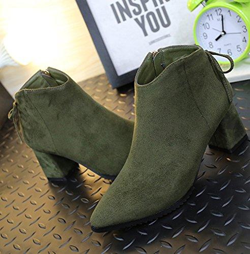 Damen Moderne Pumps Spitz Zehen Schleife Verzierung Weich Nubukleder Frühling Stiefel Freizeitschuhe Grün