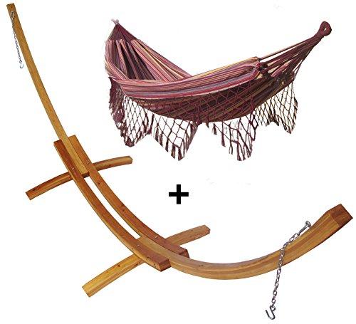Support demi lune double bois mélèze et son hamac double à franges violet, hamac détente