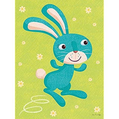 Happy Spaces - Imprimir azulejos de colores, la habitación, Multi (turquesa Bunny por Ian Cunliffe), 45 x 60 x 2