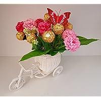 Blumen Gesteck, Fahrrad mit Blumen, Pralinen Strauß
