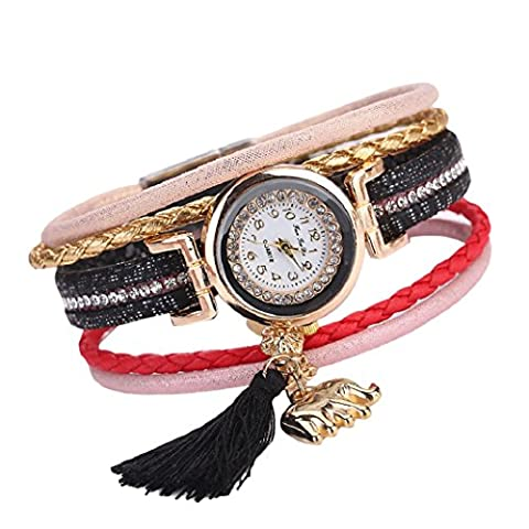 Sisit Simple mais élégant Bande de cuir fine pour femme (Winding Analog Quartz Movement Wrist Watch) (Noir)