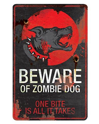 Zombie Hund Warnschild aus Metall als coole (Hund Zombie)