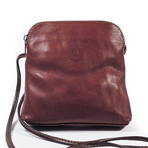 Echtes italienisches Small Soft Leder Cross-Body-Schultertasche Handtasche, rot (Rot) - PS49 Light Coffee