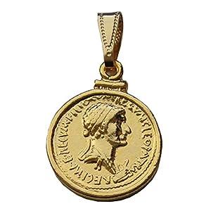 Münze Anhänger Marc Antonius und Kleopatra VII. 24 Karat vergoldet