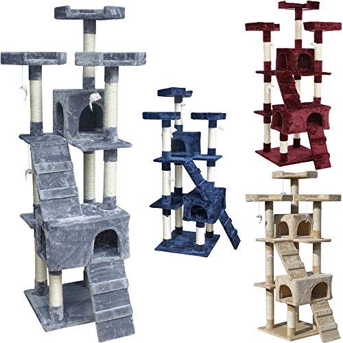 Beltom tiragraffi per gatti 170 cm gioco parco giochi cuccia gatto graffiatoio sisal albero tira graffi palestra - grigio
