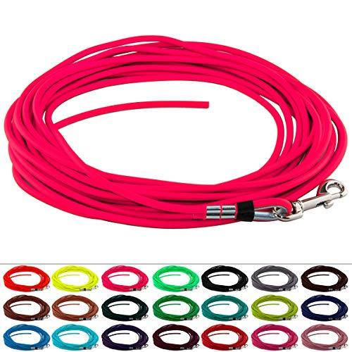 LENNIE BioThane Schleppleine, rund, Ø 6mm, Hunde 15-25kg, 20m lang, ohne Handschlaufe, Neon-Pink