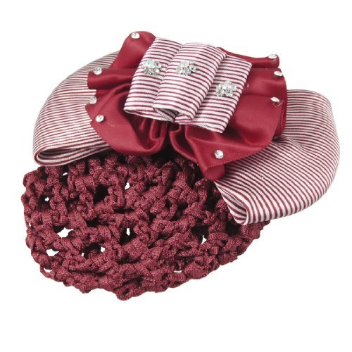 DealMux Lady Rot Blume Strass Akzent Striped Bowtie Haarnetz Haarspange Haarspange -