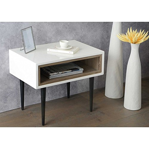 Amadeus Bout de canapé laqué Blanc Design