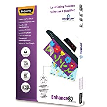 Fellowes A4 Laminating Pouches, Gloss, 80 Micron with Image Last Directional Quality Mark, Pack of 100