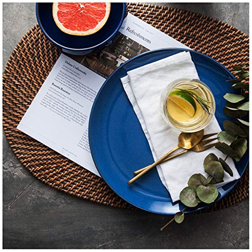 XIUXIU Bleu royal créatif Western Food Solid Color Plate Plate Céramique Plat De Pâtes Plat De Petit Déjeuner Plat De Bifteck Plat De Plat De Plat De Gâteau Plateau De Gâteau 10 Pouces Plat De Salade