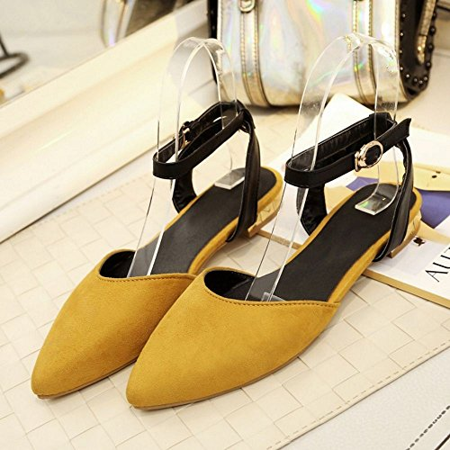 COOLCEPT Femmes Mode Pointue Sangle de cheville Robe Sandales with Boucle Jaune