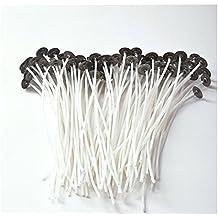 JZK® 100 x 200 mm mechas de vela con base / sustentador , libre de humo, pre-encerado, núcleo algodón natural para fabricación velas bricolaje (100 x blanco)