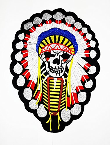 Big Indian Chief Kopfschmuck Native American Indian Patch Weste/Jacke Biker Patch Motorrad Fahrer Biker Tattoo Jacke T-Shirt Patch Sew Iron on gesticktes Schild (Native Kopfschmuck)