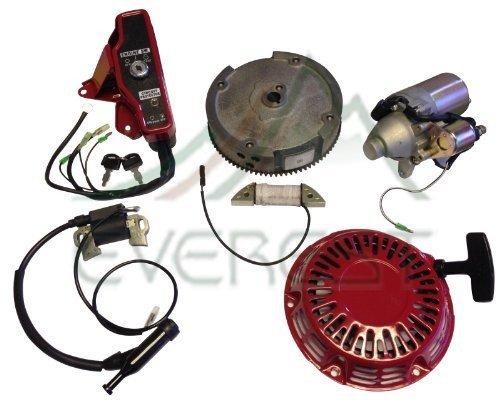 Con Everest MARCA Honda GX160 y GX200 5.5HP 6.5HP Motor eléctrico kit de inicio con la caja de interruptor de retroceso bobina de encendido volante de encendido con claves
